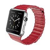 38/42 mm Apple Watch Bands Echt Leder Schlaufe iWatch Band Schlaufe, mit Magnet Schnalle Lock Ersatz Band für Apple Watch Alle Modelle rot rot