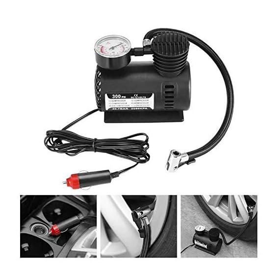 Lukzer 1 Pc Multipurpose Air Compressor Pump 12V Mini Portable for Car & Bike Air Compressor Gauge 300 PSI Tyre Inflator Pump