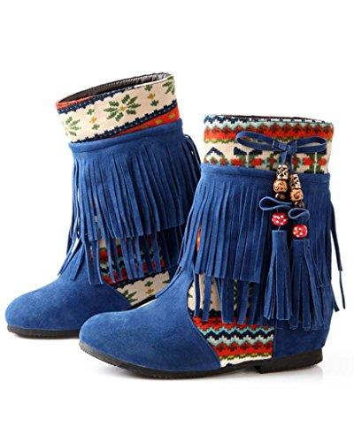 Minetom Femmes Hiver Gland Bottes De Neige Bottes De Neige Chevalier Bottes Chaussures Antidérapantes Bleu