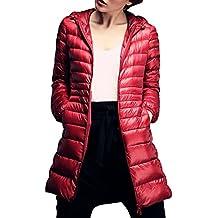 ZhuiKun Abrigo de Plumas Parka Chaqueta de Invierno Ligeras con Capucha para Mujer