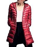 Damen Daunenmantel Ultra Leicht Parka Winter Jacke Lang Daunenjacke Steppjacke Übergangsjacke Rot 2XL
