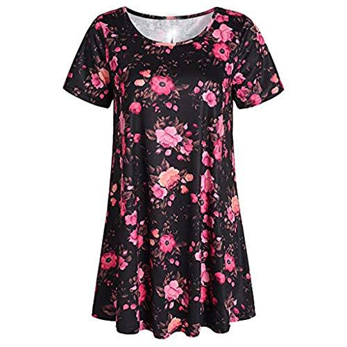 TOPSELD T Shirt Damen, Frauen Blumen T-Shirt Kurzarm Rundhals BeiläUfige Oberseiten Bluse ()