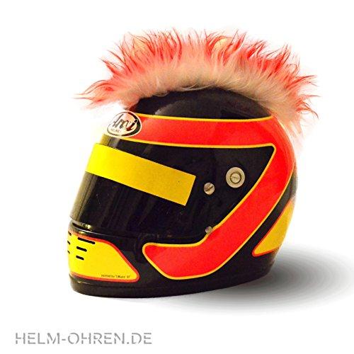Helm-Irokese für den Motorradhelm, Crosshelm, Motocrosshelm oder Skihelm - verwandelt den Helm in ein EINZELSTÜCK - der HINGUCKER - Irokesenaufsatz Punk - Helm-Aufkleber (Rot-Weiß)