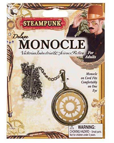 Horror-Shop Steampunk Monokel in Gold als stylishes Accessoire für Halloween, Karneval, Cosplay und LARP (Steampunk Gold Kostüme Monokel Für Erwachsene)