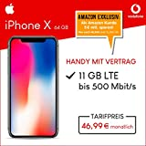 Apple iPhone X (space grau) 64GB Speicher Handy mit Vertrag (Vodafone Smart XL) 11GB Datenvolumen 24 Monate Mindestlaufzeit [Exklusiv bei Amazon]