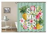 Gnzoe Polyester Bad Vorhang Summer Ananas Blumen Muster Design Badewanne Vorhang Bunt für Badezimmer/Badewanne 180x200CM