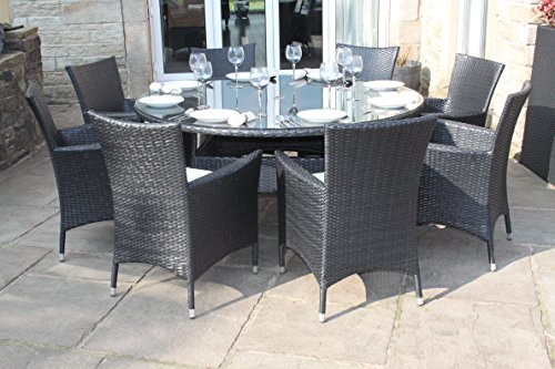 Black Rattan Outdoor 8 Seat Round Garden Furniture Dining Set