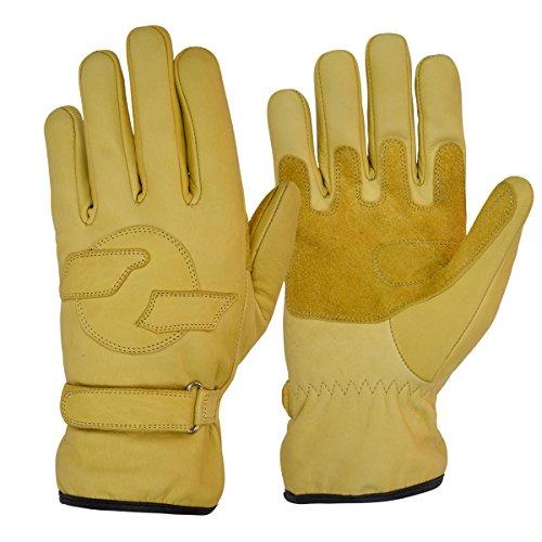 Goldtop Bräunen Leder Vlies gefüttert kurze Harley Bobber Kreuzer Stil Motorrad Handschuhe mit Doppel verstärkte Palmen
