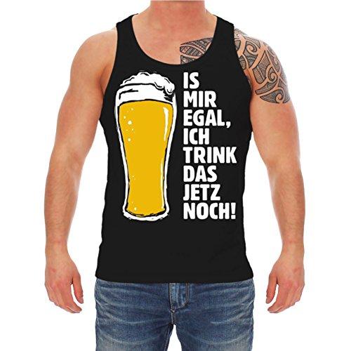 Männer und Herren Trägershirt Is mir egal ich trink das jetzt noch Schwarz