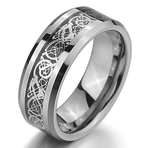 MunkiMix Tungstène Anneau Bague Bague Ton d'Argent Noir Celtic Celtique Dragon Mariage Taille 51 Homme