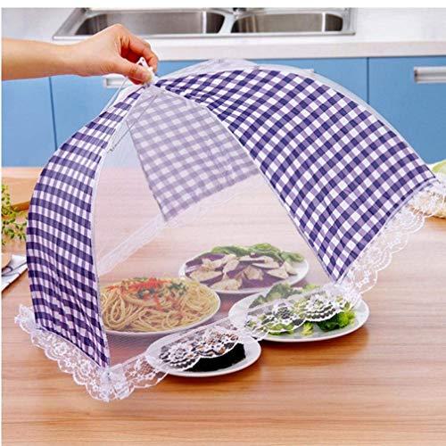Ouken 1pc Küche Klapp Mesh-Lebensmittel-Abdeckung Grill Picknick Geschirr Anti-Fliegen-Moskito Regenschirm Hygiene Rasterstil Futternapf Abdeckung