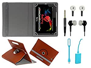 Gadget Decor (TM) PU Leather Rotating 360° Flip Case Cover With Stand For videocon va78 + Free USB Led Light + Free Handsfree( Without Mic) - Brown
