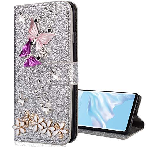 Preisvergleich Produktbild Nadoli Leder Hülle für Huawei P10, Luxus Bling Glitzer Diamant 3D Handyhülle im Brieftasche-Stil Schmetterling Blumen Flip Schutzhülle Etui für Huawei P10, Silber