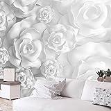 murando - Fototapete Blumen 3D Effekt 400x280 cm - Vlies Tapete - Moderne Wanddeko - Design Tapete - Wandtapete - Wand Dekoration - grau weiß Optik b-B-0282-a-a