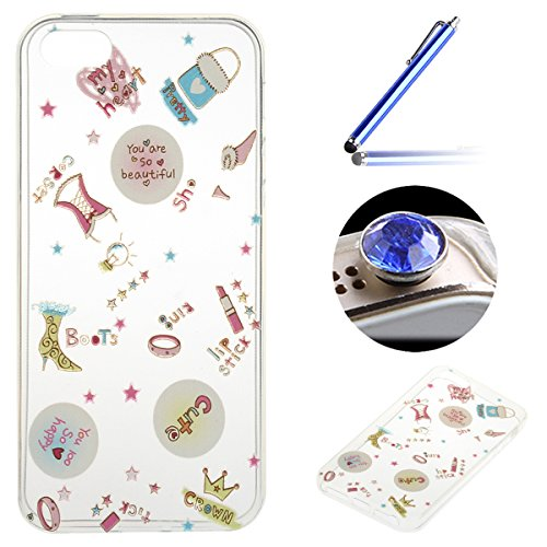 iPhone 5/5S/SE Coque, Etsue pour iPhone 5/5S/SE Vogue Gel Housse étui de téléphone mobile ,TPU Silicone Matériau Transparente Ultra Mince Supérieur Semi Transparent Doux Coque [Flamant] Motif pour iPh vie brillant