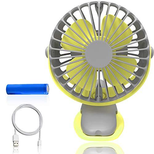 upHere Clip Schreibtisch Ventilator Mini Lüfter USB Tischventilator Tragbarer Ventilatoren 360° Drehung Personal Lüfter Kleiner leiser Lüfter fürs Büro,ZuHause,Reise,Camping,Kinderwagen(Gelb-Grau)
