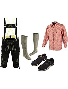 Herren Trachten Lederhose 46-62 Trachten Set 5 Teilig Bayerische Trachtenlederhose,Hemd,Schuhe,Socken Neu