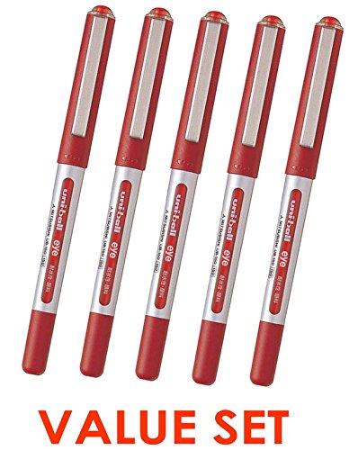 Uni-Ball Eye Micro UB150 Rollerball Micro Penne / 0.5mm - Set di inchiostro / valore rosso di 5(With il nostro negozio descrizione di prodotto