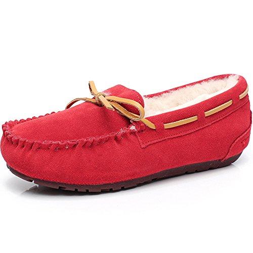 Rismart Femmes High-End Laine Fourrure Doublé Doux Suède Mocassins Hiver Chaud Intérieur Pantoufle Flâneurs S1017 Rouge