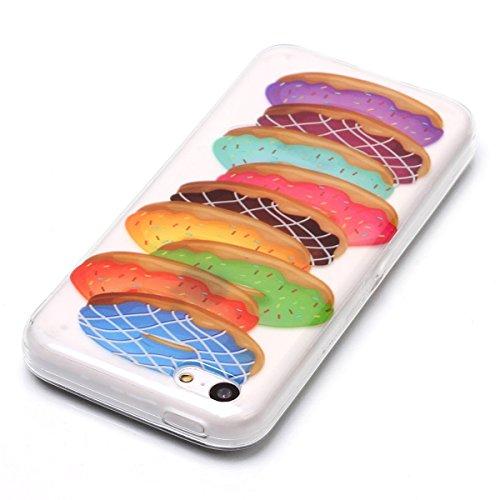 GrandEver iPhone 5C Hülle Weiche Silikon Handyhülle Rückschale TPU Bumper Schutzhülle Klar Handytasche mit Bunt Muster Anti-Kratzer Stoßdämpfung Ultra Slim Rückseite Silicon Backcover Soft Case Protec Bunte Donuts