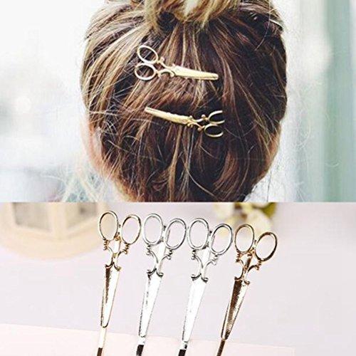 cuhair 6pcs Frauen Schere Muster Haar Clip Haarspange claw Pin Individualität Haar Clips Punk Zubehör (Schere Pin)