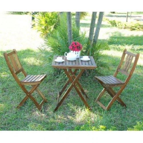 Balkonset TAMPA 3tlg. Akazie Set Sitzgruppe Tischgruppe Garten Möbel Tisch Stuhl braun