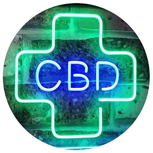 ADV PRO CBD Sold Here Medical Cross Indoor Dual Color LED Barlicht Neonlicht Lichtwerbung Neon Sign Grün & blau 300 x 210mm st6s32-i3083-gb