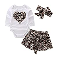 Clode for 0-2 Years Old, 3Pcs Newborn Toddler Infant Baby Clothes Set Heart Print Tshirt Romper and Leopard Skirt with Headband Outfit Clothes (12-18 Months, Coffee)