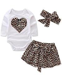 e6e38338f44 Clode® 3Pcs Newborn Toddler Baby Heart Print Tshirt Romper and Leopard Skirt