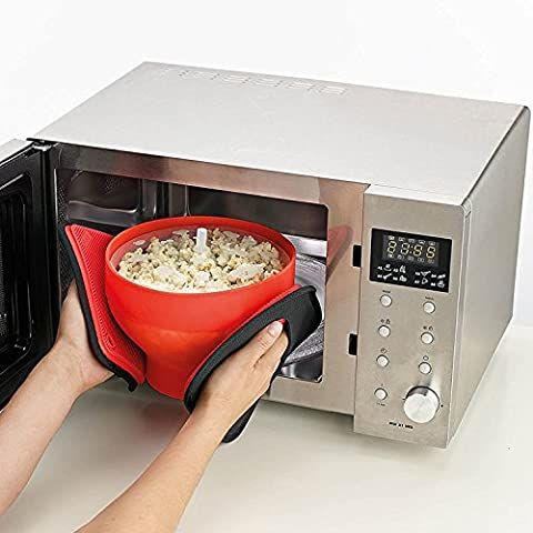 QSSM® Popcorn Maker DIY Safety Popcorn Bucket Microwave Popcorn Popper Collapsible Silicone Bowl with Anti-Splash Lid Kitchen Bakingware Gadget