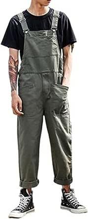 Suncolour Mens Work Bib Men's Cotton Loose Fit Adjustable Retro Dungarees Unisex Multiple Pockets Chic Overalls Rompers