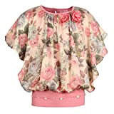 #10: Cutecumber Girls Satin Floral Printed CoralPink Top AM-2196A-CORALPINK