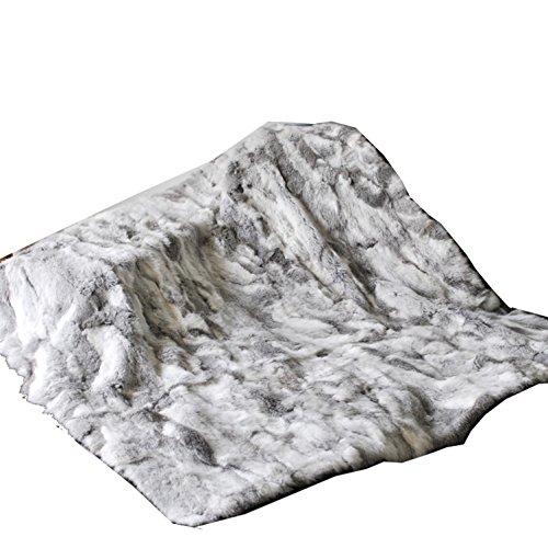 Ysting Custom Made naturale Colore Patchwork coniglio pelliccia reale della coperta del tiro, grigio (140 * 160 cm)