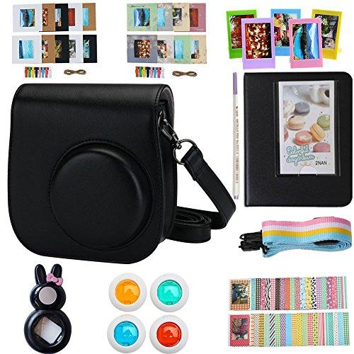 Alohallo instax mini 8 Zubehör für FujiFilm Instax Mini 8 / 8+ /9 Sofortbildkamera / Mini 8+ Kamera mit Kameratasche / Close-Up Objektiv / Mini Album / Farbrahmen / Sticker Ränder / Riemen / Stifte / Filter - Schwarz