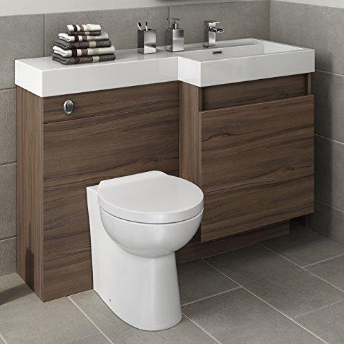 1200mm Walnut Vanity Unit Toilet Sink ...