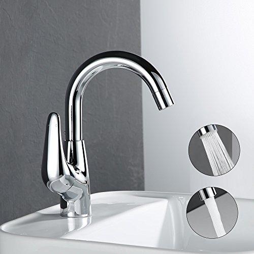 Desfau 360° schwenkbar/drehbar Chrom Wasserhahn für Bad Einhebelmischer Waschtischarmatur Waschtisch Armatur Waschbeckenarmatur Waschbecken Mischbatterie Waschtischbatterie Badzimmer