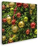 deyoli Schimmernde Weihnachtskugeln Format: 60x60 als Leinwand, Motiv fertig gerahmt auf Echtholzrahmen, Hochwertiger Digitaldruck mit Rahmen, Kein Poster oder Plakat