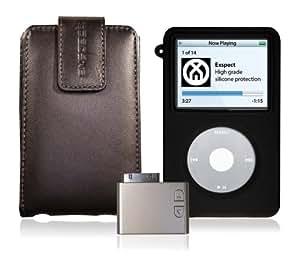 Exspect iPod Classic 60 & 80GB Bundle inc leather case, skin & FM transmitter - Black