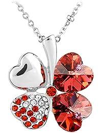 Le Premium® Vier Blatt Klee Halskette MADE WITH SWAROVSKI® ELEMENTS herzförmigen Swarovski Padparacha rot kristalle