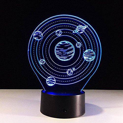 Preisvergleich Produktbild GZXCPC Kreativer Illusion-Lampen-Planet 3D,  7 Farben Led Nachtlicht Touch Schalter Schlafzimmer Schreibtisch Beleuchtung für Kinder Geschenke Haus Dekoration