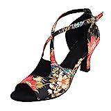 HXYOO Zapatillas de salón Interiores para Mujeres latín Salsa(37.5, Negro)