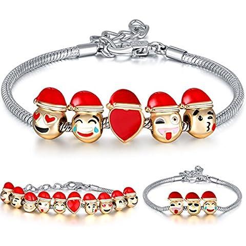Mision Emoji charms pulsera de perlas de gorro de Navidad DIY 10chapado en oro de 18K esmalte Emoji caras
