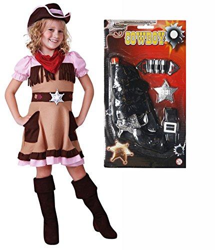 Cowgirl-Kostüm Cutie Girls Outfit mit Gun Alter von (Kind Cowgirl Kostüme Cutie)