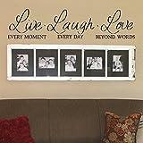 "Live Laugh Love adhesivo para pared–Live Laugh Love Pared Adhesivos–Adhesivos de pared para salón–Live, Laugh, Love de pared Decor–Inspirational Quotes, vinilo, marrón oscuro, 13.5""h x58""w"