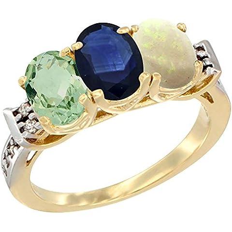 Oro Giallo 14ct naturale ametista verde, blu zaffiro e opale anello 3-Stone 7x 5mm ovale diamante Accent, taglia