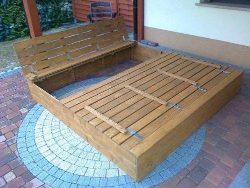 Sandkasten Buddelkasten aus Massivholz mit Deckel und Sitzbänken in Hellbraun, 150 cm x 150 cm