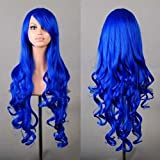 Beauty Smooth Hair 80cm Spiral Curly Cosplay Perücke (blau)
