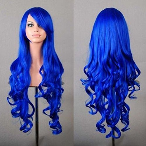 Beauty Smooth Hair 80cm Spiral Curly Cosplay Perücke (Perücken Blau)