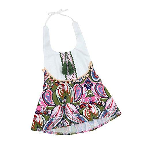 VENMO Baby Mädchen Blumendruck Quasten Strap Dress Kleidung Outfits (Size:6M, (Outfit Mermaid Kleinkind)