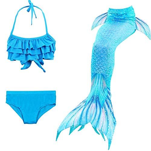 YeeZcc 3 Stücke Sommer Mädchen Badeanzug Meerjungfrau Schwänze für Schwimmen Prinzessin Bikini Kinder Badeanzug Set Kann Hinzufügen Monoflosse für 3-12Y,L,150CM
